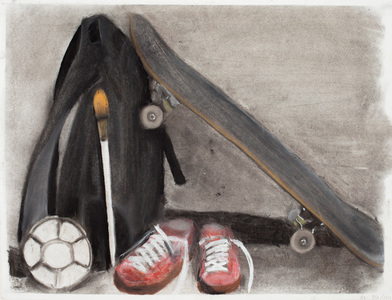 Keisuke Eguchi Painting Skateboard series charcoal and pastel on paper