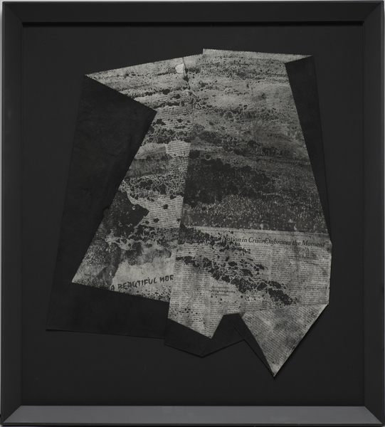 Kelcy Chase Folsom Archive NY Times newspaper of President Obama's Inauguration, charcoal, black diamond