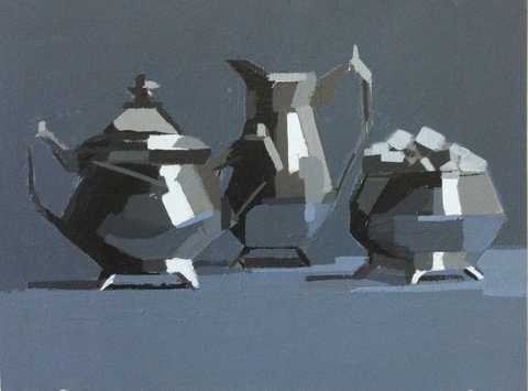 Tea Set acrylic on paper on board