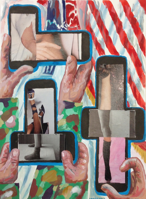 Smart Phone Collages collage, ink, gouache on paper