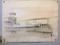 Ken Rush Gowanus Area 1974-2018 Watercolor on Arches Paper