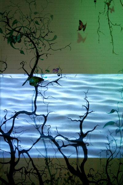 Ketta Ioannidou Mediterranean Jungle Paradise  acrylic paint on wall, video projection, gouache on acetate, monofilament