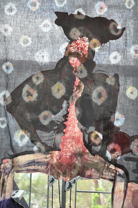 Kimberly Reinhardt Silkscreen Paintings Silkscreen, resist dye, sequins and beads on found printed fabric and canvas