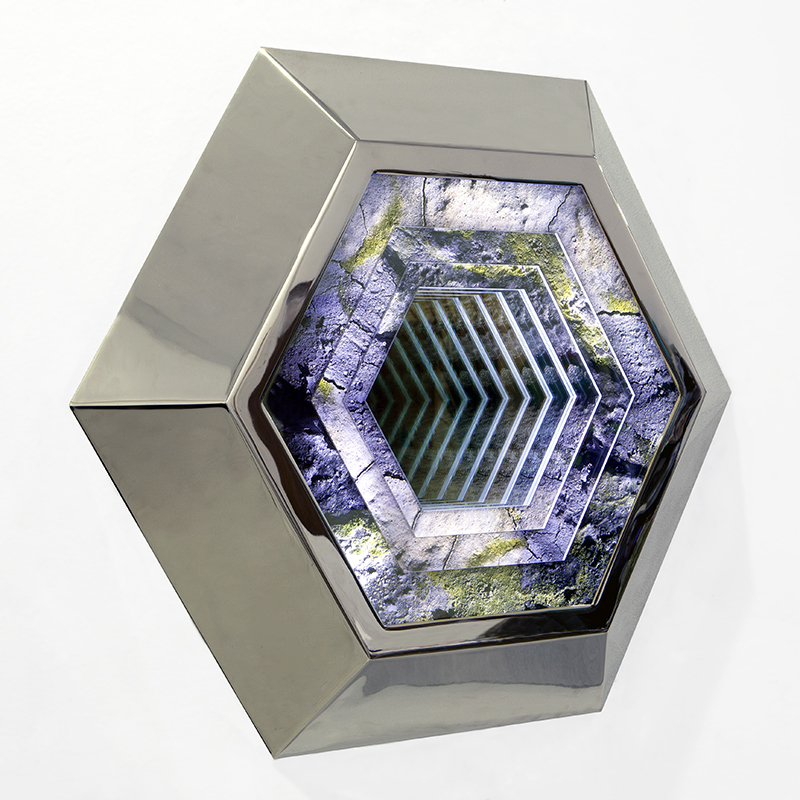 KIRSTEN KAY THOEN SCULPTURE Nickel plated steel, photo-transparency films, mirrored glass, plexiglass, & LEDs