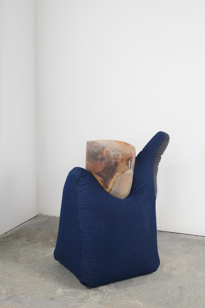 KRISTEN JENSEN Some work wood fired stoneware, denim, stretch denim from one worn of worn pants, and metal