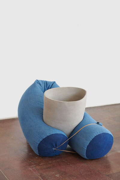 KRISTEN JENSEN Some work stoneware, 12oz denim, denim from one pair of worn pants, elastic, and metal