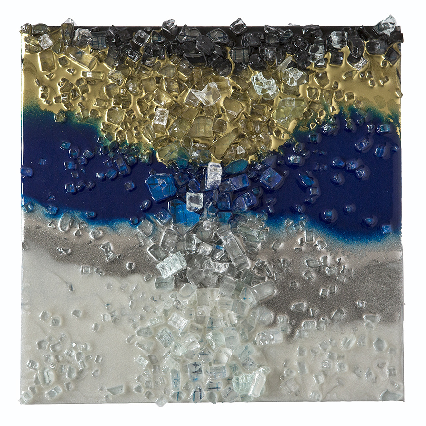 Kristin Schattenfield-Rein Recent Work Glass, Resin, Silver Dust, Interference, Gold Dust & Acrylic Ink on Birch Panel