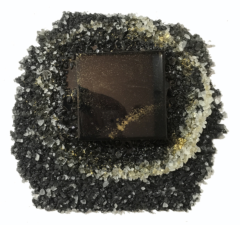 Kristin Schattenfield-Rein Recent Work Glass, Sand, Resin, Gold Dust & Acrylic Ink on Birch Panel