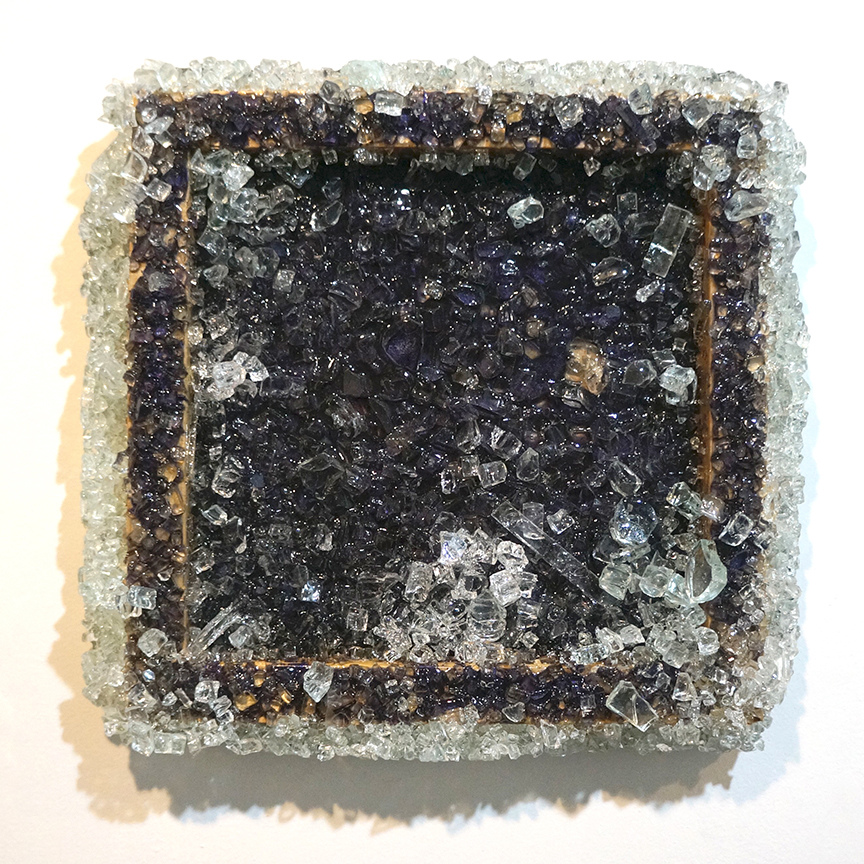 Kristin Schattenfield-Rein Recent Work Glass, Resin, Interference Powder & Acrylic Ink on Birch Panel