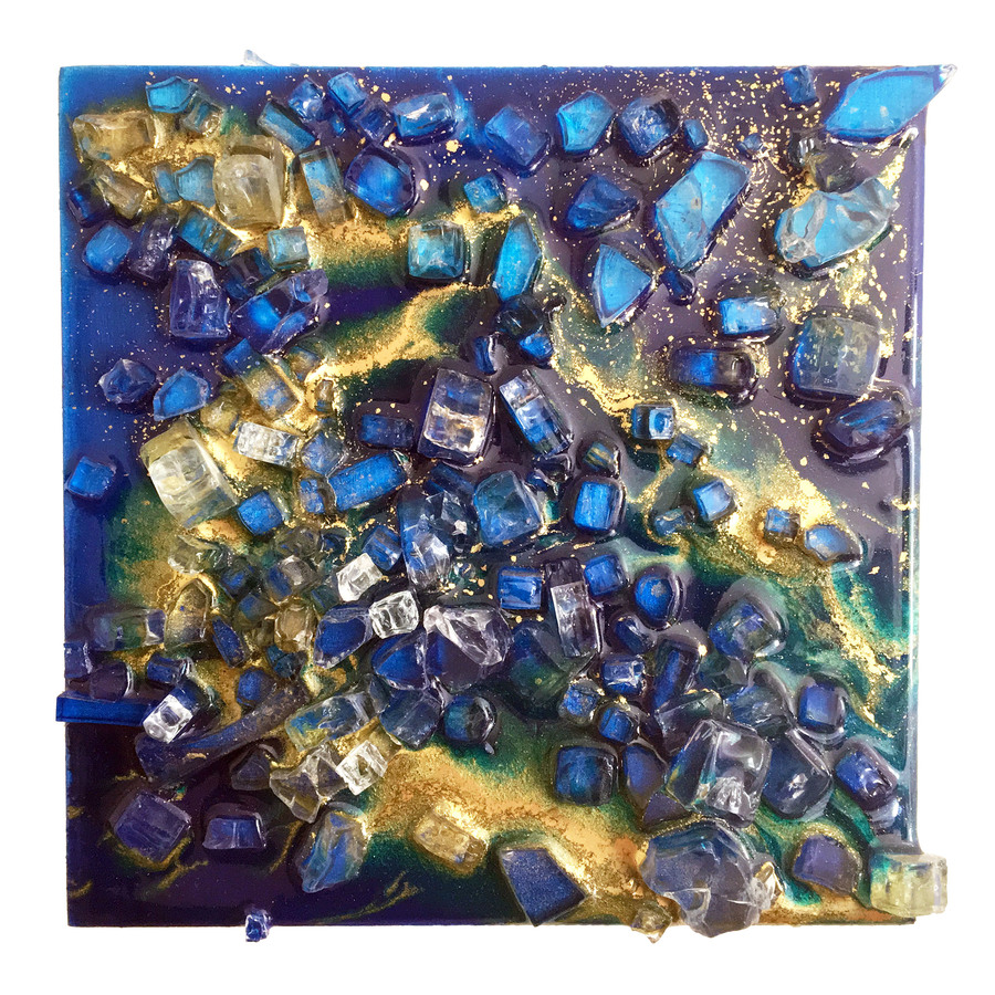 Kristin Schattenfield-Rein Recent Work Glass, Resin, Gold Dust, Acrylic on Birch