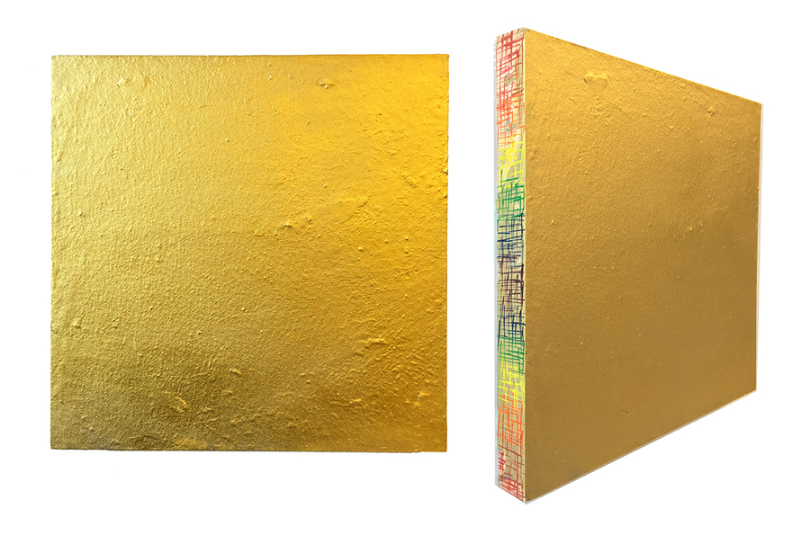 Kristin Schattenfield-Rein Recent Work Gilded Concrete, Enamel & Acrylic Ink on Birch Panel