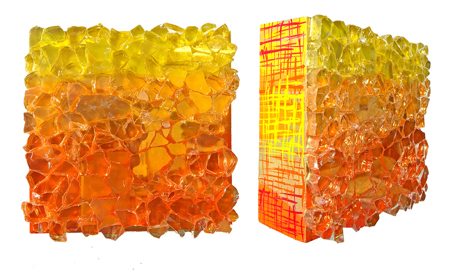 Kristin Schattenfield-Rein Recent Work Gilded Glass, Resin, Enamel & Acrylic Ink on Birch Panel