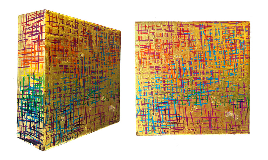 Kristin Schattenfield-Rein Recent Work Gold Dust, Resin, Enamel & Acrylic Ink on Birch Panel
