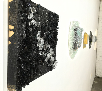Kristin Schattenfield-Rein The Liminal Gates Glass, Sand, Resin, Graphite Flake & Acrylic Ink on Birch Panel