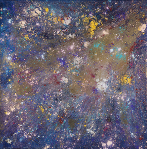 Kristin Schattenfield-Rein We Are All Made Of Stars Oil, Interference, Gold Dust, Enamel, Resin on Canvas