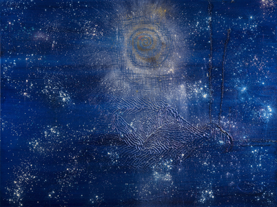 Kristin Schattenfield-Rein We Are All Made Of Stars Oil, Interference, Gold Dust, Poured Enamel on Canvas