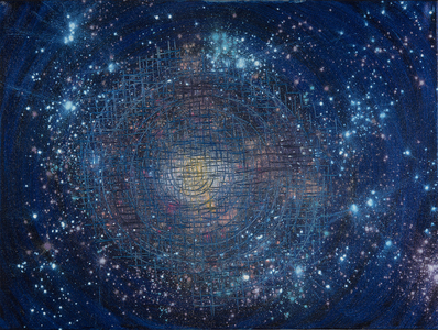 Kristin Schattenfield-Rein We Are All Made Of Stars Oil, Interference, Gold Dust, Enamel on Canvas