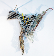 Larry Dell Metal, Glass, Fabric Plate glass, fabrics, acrylic paint, chicken wire, glass glazing, steel wire