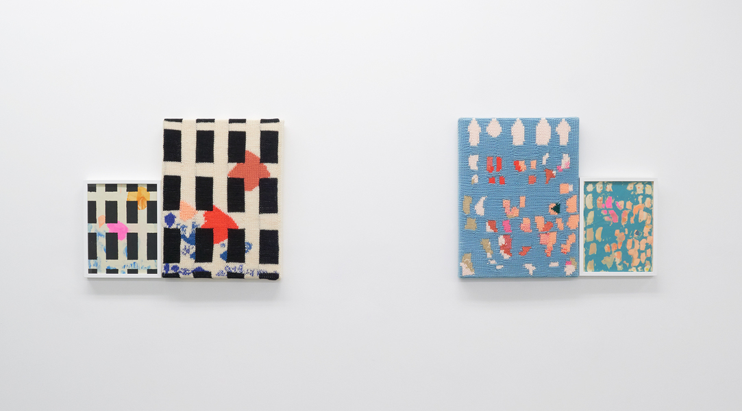 LAS HERMANAS = LISA + JANELLE IGLESIAS / INDIVIDUAL + COLLABORATIVE PROJECTS  FAMILIEN IGLESIAS > Gouache and Flashe on paper, acrylic and wool yarn, stretcher bars