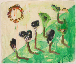 Laura Bell Selected Mixed-Media Works Acrylic, ink, and photos (treetops, cats) on both sides of vellum tracing paper