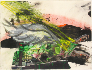 Laura Bell Selected Mixed Media and Paintings on Paper Black glue, ink, acrylic, charcoal, and photos (abandoned cars) on both sides of vellum tracing paper