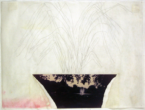 Laura Bell Selected Mixed-Media Works Ink, pencil, and photo (London fountain) on both sides of vellum tracing paper