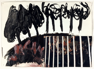 Laura Bell Selected Mixed-Media Works Black glue, photo (kenneled French hunting dogs), and acrylic on paper