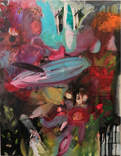 Laura Bell Selected Paintings Oil and photos (captive Orcas, Navy submarine, personal fireworks, various gardens) on canvas