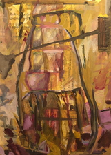 Laura Bell Selected Paintings Oil, photos (garden statues), and sheet music on wood