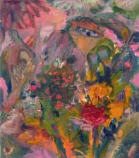 Laura Bell Selected Paintings Oil and photos (Connecticut and California gardens, still life with chair) on canvas