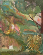 Laura Bell Selected Paintings Oil, photos (garden statues) on family member's unfinished painting on canvas