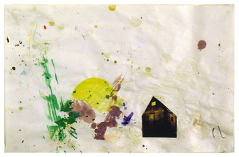 Laura Bell Selected Mixed-Media Works Acrylic, ink, and postcard cut-out on paper