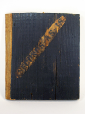 "Laura Bell Selected ""Books"" series Acrylic on found, stamped wood"