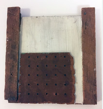 "Laura Bell Selected ""Books"" series Gesso, found wood, and pegboard on found wood"
