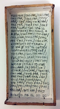 "Laura Bell Selected ""Books"" series Gesso and penciled text on found wood"