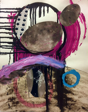 Laura Bell Selected Mixed-Media Works Acrylic, ink, laser prints (International Space Station crossing the moon), cut paper, and fragment of poster on foam core (New York Times magazine cover story on nuclear energy) on paper