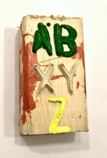 "Laura Bell Selected ""Books"" series Stenciled acrylic on found, painted wood"