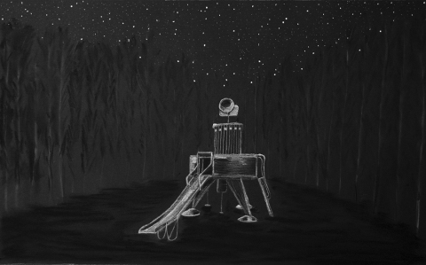 "LAUREN ORCHOWSKI ""ROCKET SCIENCE"" Dioramas, Series 2"" Charcoal and pastel on paper"