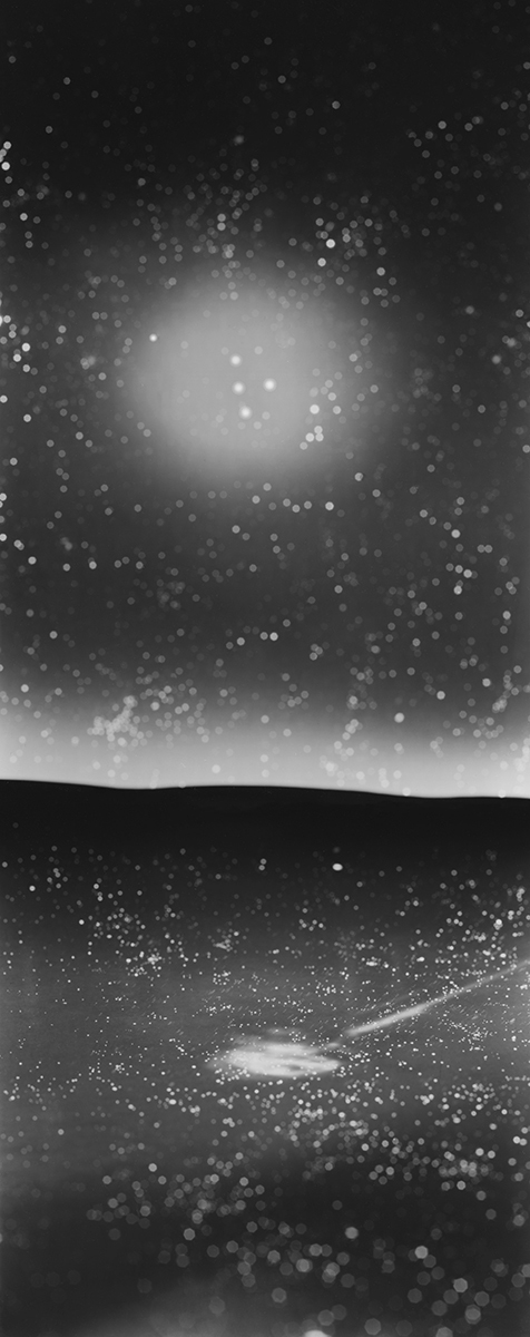 LAUREN ORCHOWSKI THE OBSERVABLE UNIVERSE NEAR AND FAR,  Closest to me Silver gelatin contact print from analog negative of hand built model