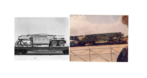 LAUREN ORCHOWSKI MY TIME AT NASA Diptych of black and white photograph from black and white analog negative and color photograph from analog color negative