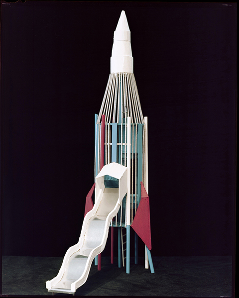 "LAUREN ORCHOWSKI ROCKET SCIENCE ""16 Rockets"" Balsa, metal, paper, and acrylic paint"