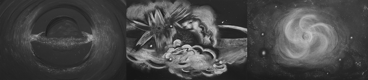 LAUREN ORCHOWSKI DRAWINGS Charcoal and graphite on Arches black cover paper