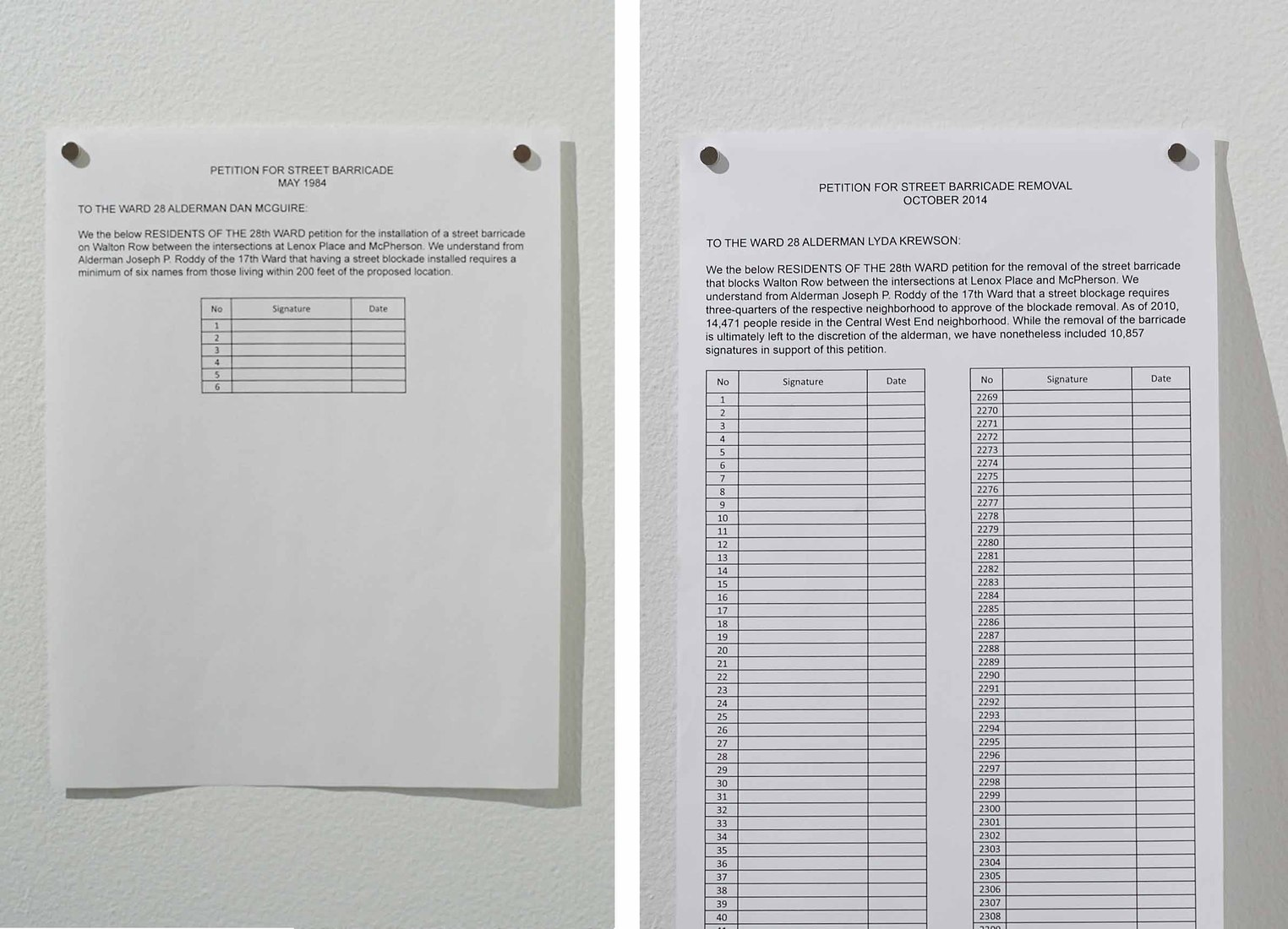 LAUREN PRESSLER  6-lined petition (1984), 10,871-lined petition (2014) <br/>