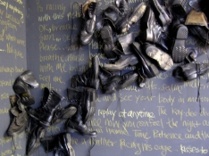 Lauren Kendrick Sleat Installations army boots and text
