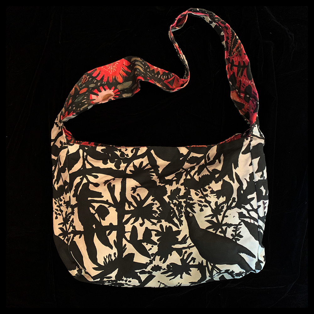HAND BAG in Bird Song reversible Indian Tapestry