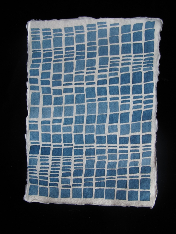 Laurie Olinder Blue Squares brush &  indigo ink