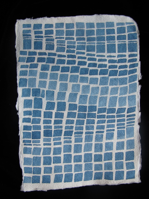Laurie Olinder Blue Squares indigo ink on paper