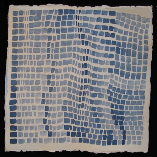 Laurie Olinder blue square WAVES indigo ink on paper