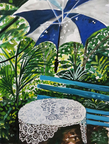 Laurie Olinder garden paintings gouache on paper