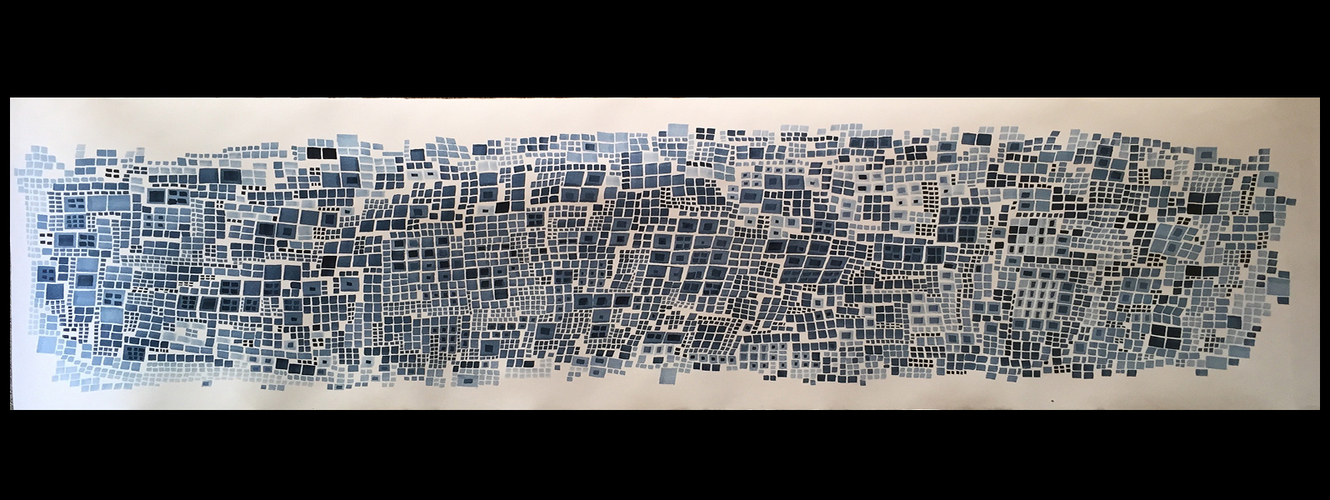 Laurie Olinder Paper Falls indigo ink on paper